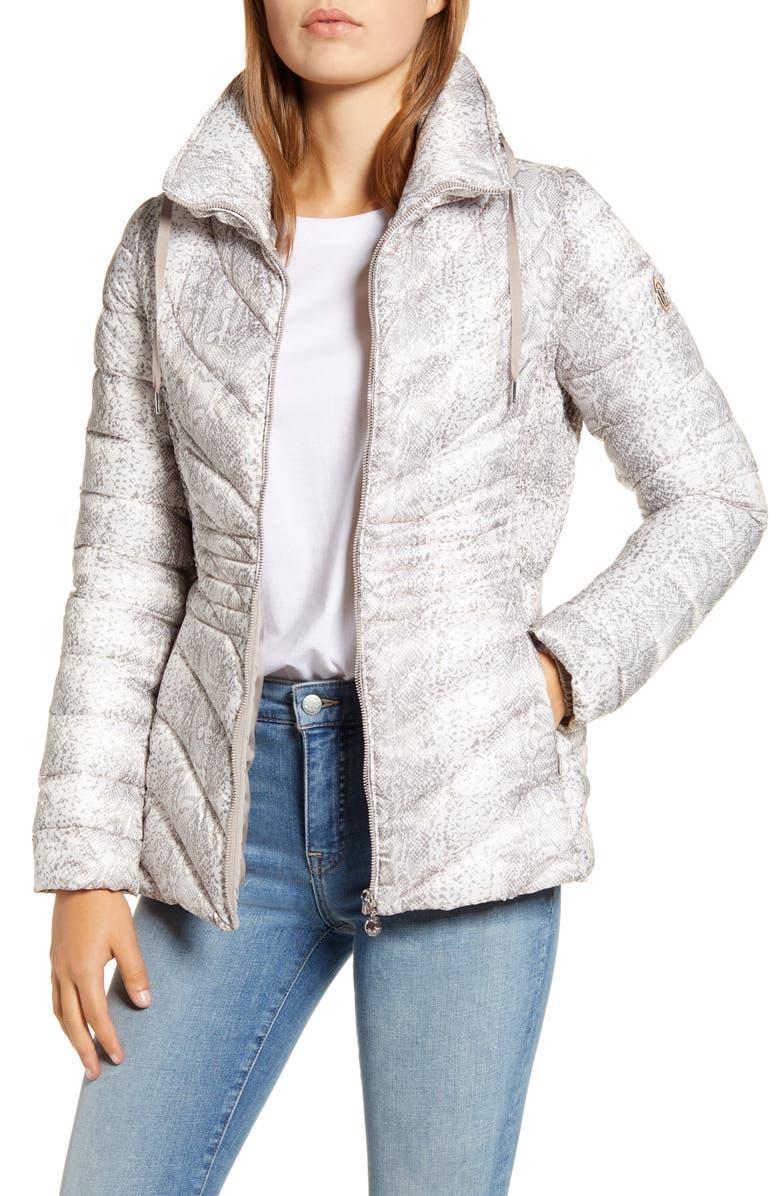 BERNARDO Down & EcoPlume Hooded Puffer Jacket, Main, color, WHITE SNAKE