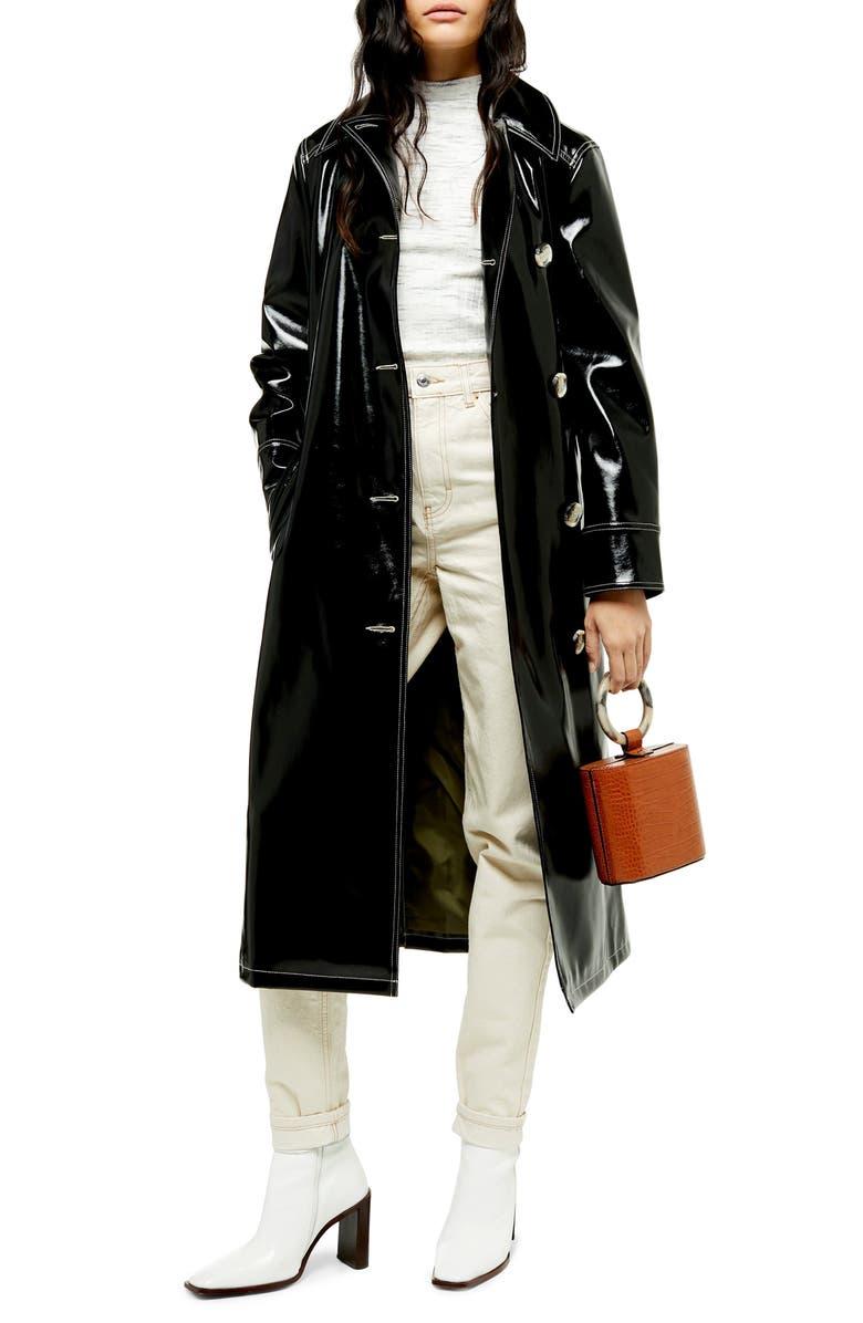TOPSHOP Vinyl Trench Coat, Main, color, BLACK