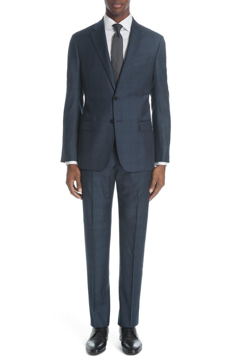 EMPORIO ARMANI G Line Trim Fit Plaid Wool Suit, Main, color, 400