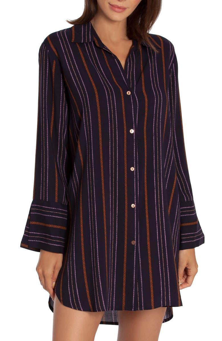 MIDNIGHT BAKERY Corine Stripe Sleep Shirt, Main, color, NAVY