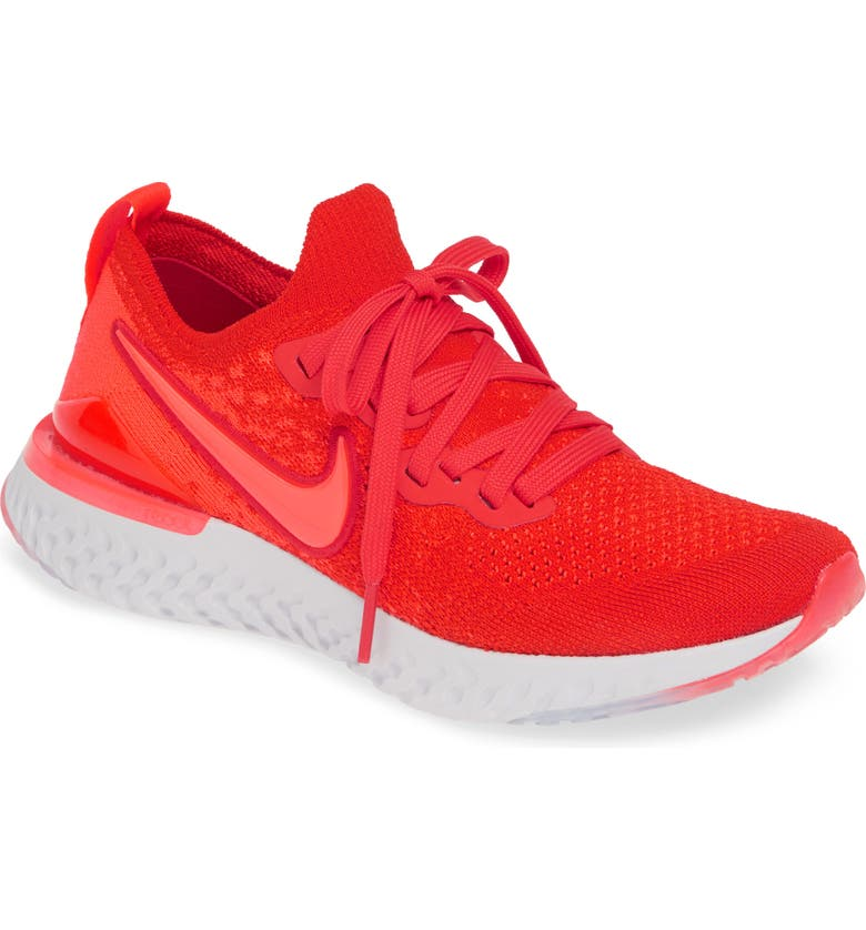 NIKE Epic React Flyknit 2 Running Shoe, Main, color, CHILE RED/ CRIMSON-GREY