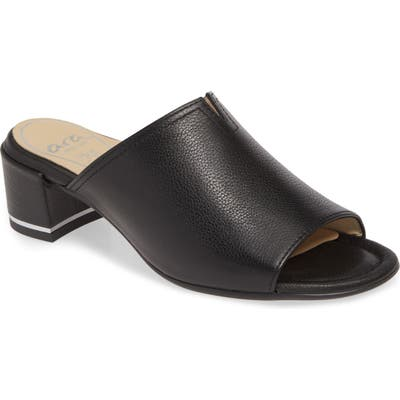Ara Gerty Notch Vamp Slide Sandal- Black