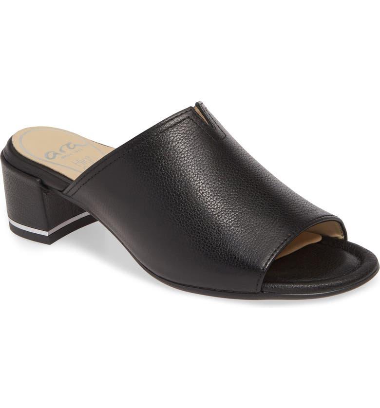 ARA Gerty Notch Vamp Slide Sandal, Main, color, 001