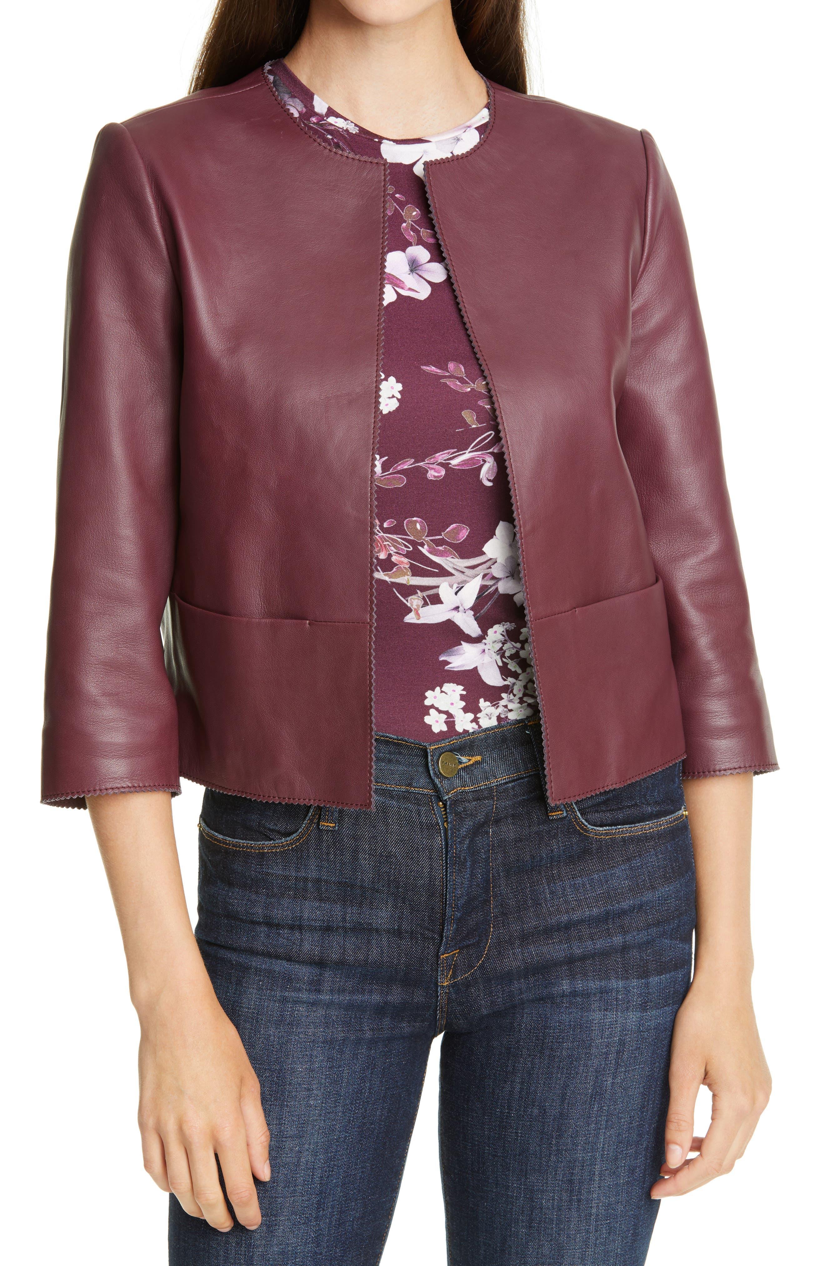 Ted Baker London Morisr Crop Leather Jacket | Nordstrom
