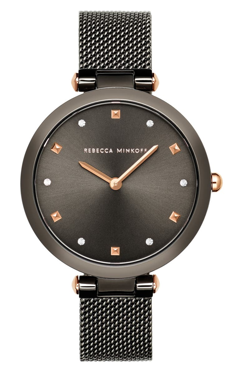 REBECCA MINKOFF Nina Mesh Strap Watch, 33mm, Main, color, GUNMETAL