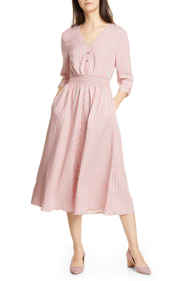 TED BAKER LONDON Colour by Numbers Stripe Midi Shirtdress, Main, color, PINK