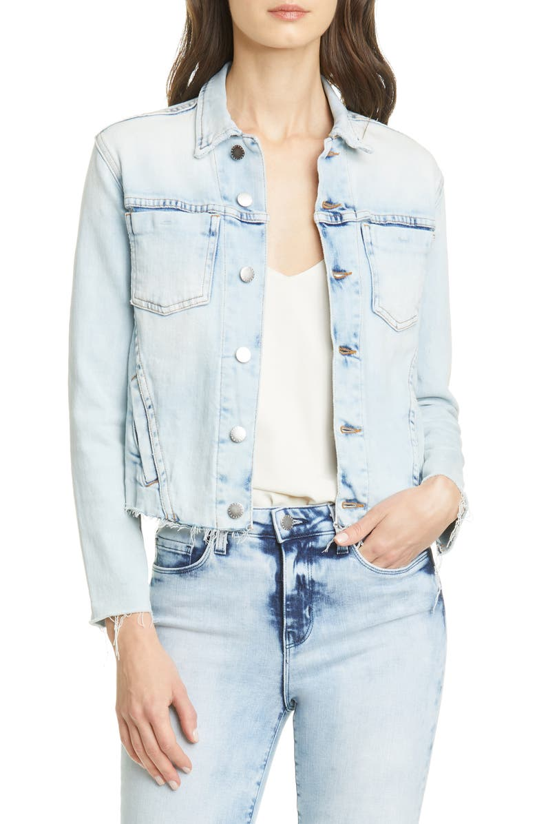 L'AGENCE Janelle Raw Cut Slim Denim Jacket, Main, color, 400
