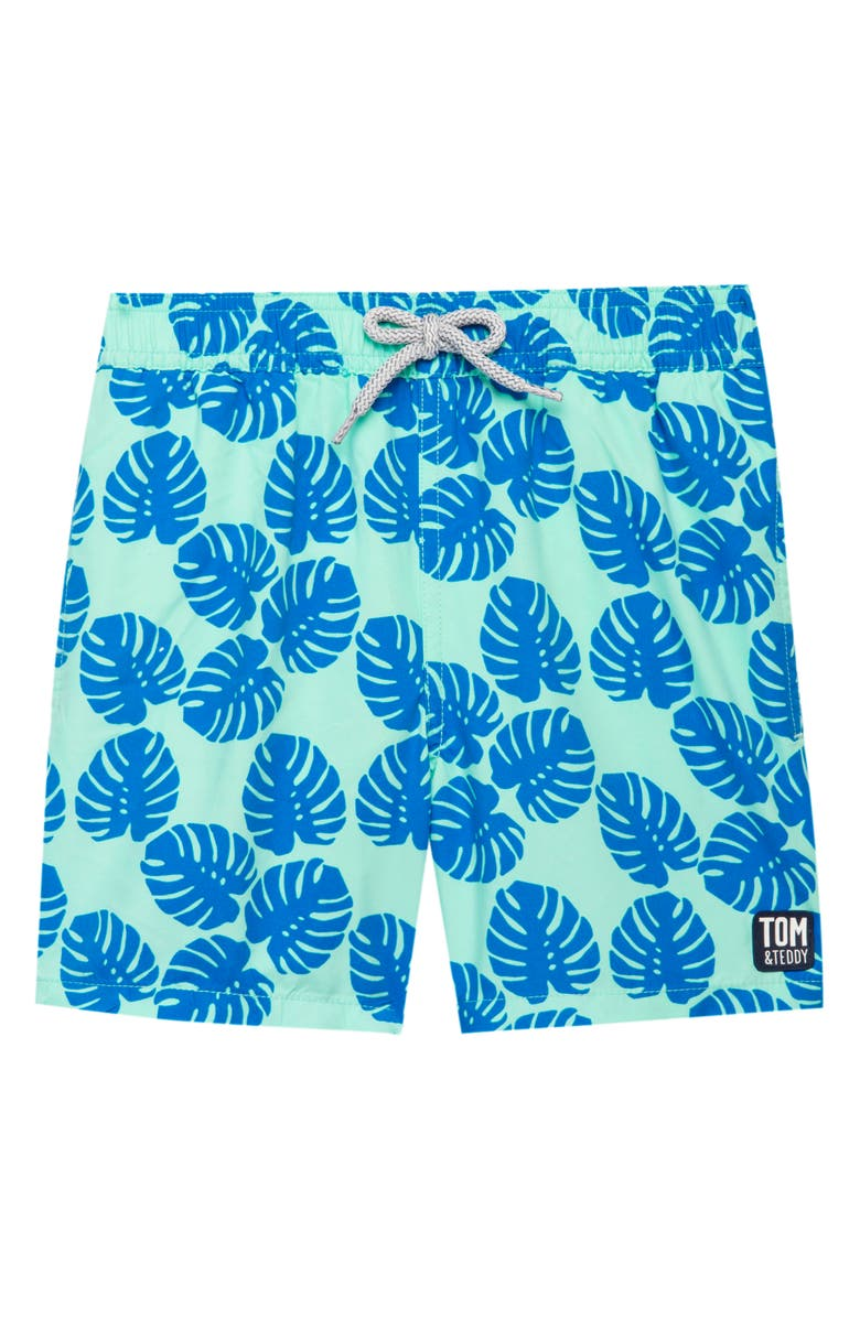 TOM & TEDDY Frond Swim Trunks, Main, color, PALE GREEN/ BLUE