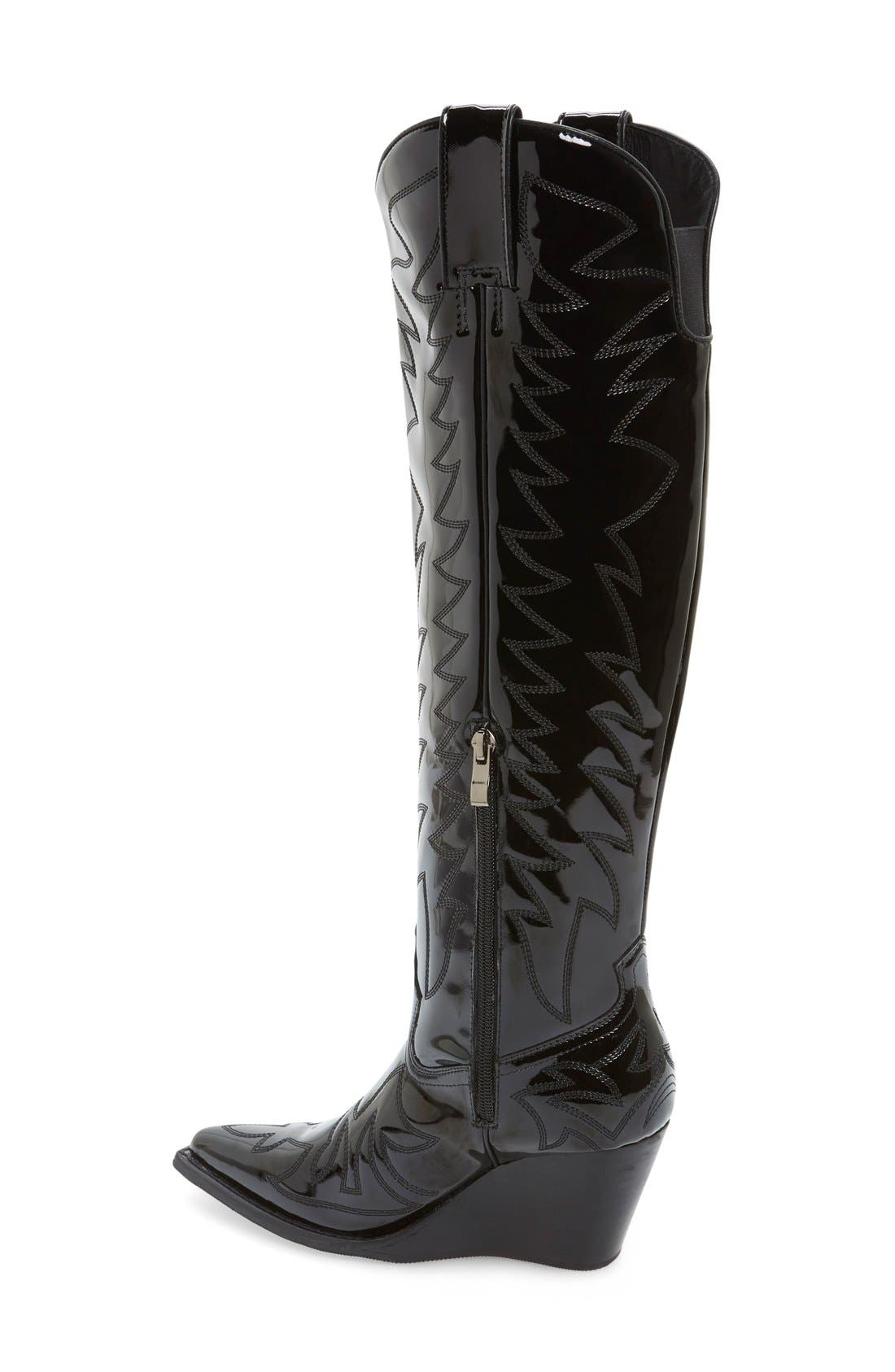 ,                             'Bit Sky' Tall Wedge Western Boot,                             Alternate thumbnail 3, color,                             001