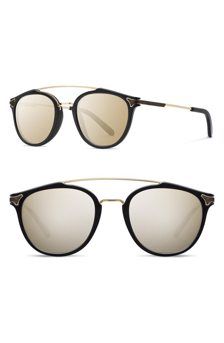 SHWOOD Kinsrow 49mm Acetate & Wood Sunglasses, Main, color, 001