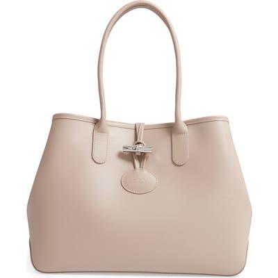 Longchamp Roseau Leather Shoulder Tote - Beige