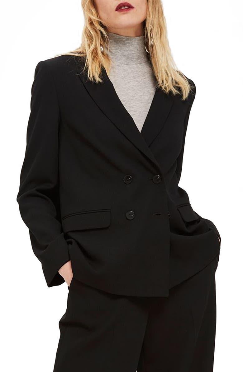 TOPSHOP Slouch Suit Blazer, Main, color, 001