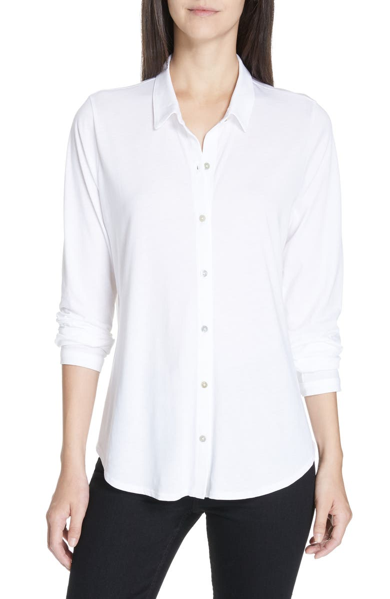 EILEEN FISHER Organic Cotton Jersey Classic Collar Shirt, Main, color, WHITE