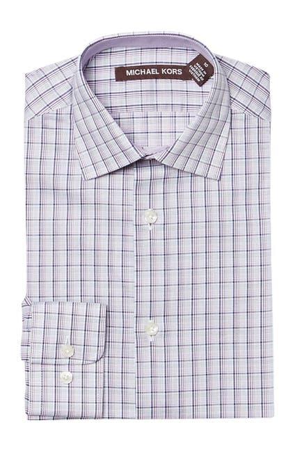Image of Michael Kors Plaid Burgundy Dress Shirt