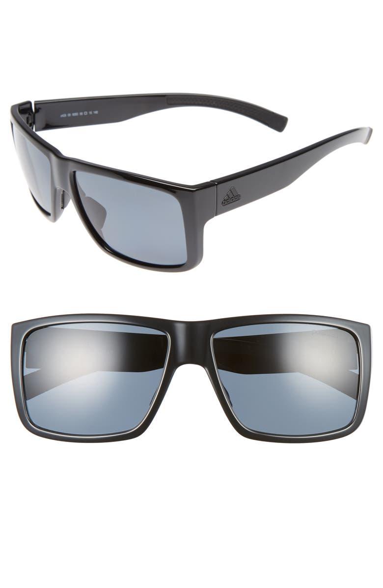ADIDAS Matic 59mm Sunglasses, Main, color, SHINY BLACK/ GREY POLAR