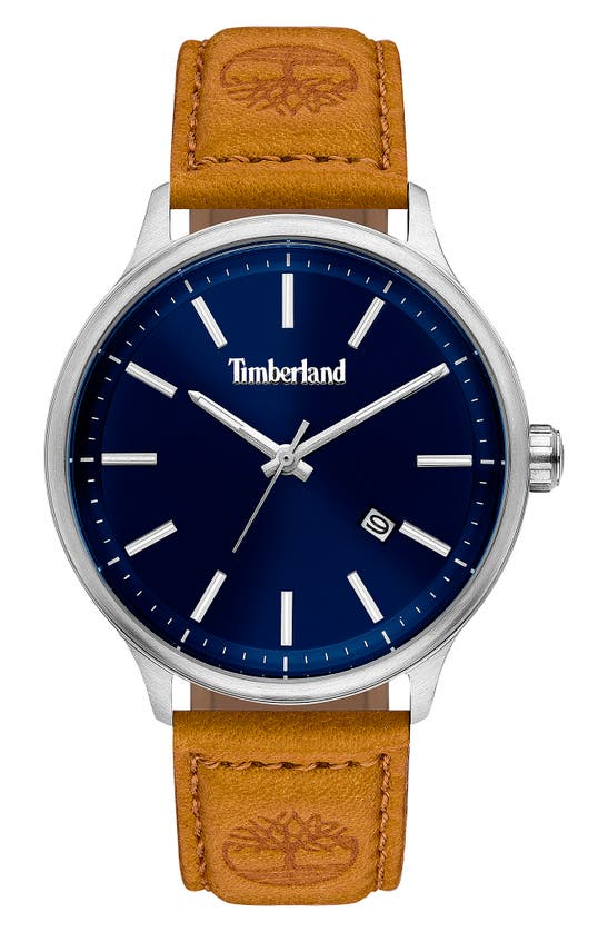 Timberland Men's Light Brown Leather Strap Watch 45mm