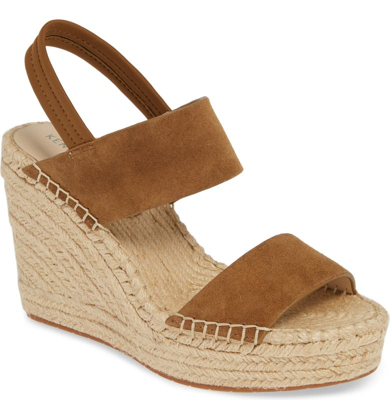 KENNETH COLE NEW YORK Olivia Simple Platform Wedge Sandal, Main, color, NUTMEG SUEDE