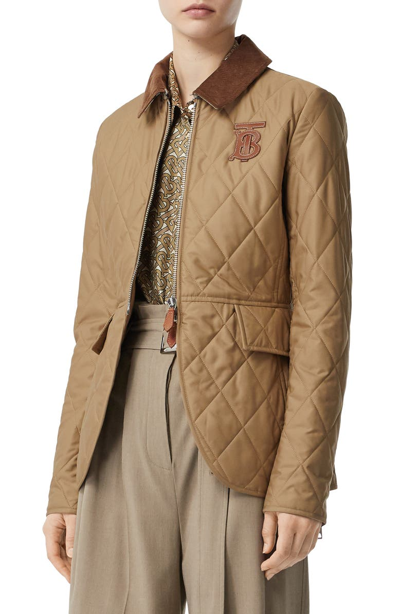 BURBERRY Ongar Monogram Motif Quilted Coat, Main, color, HONEY