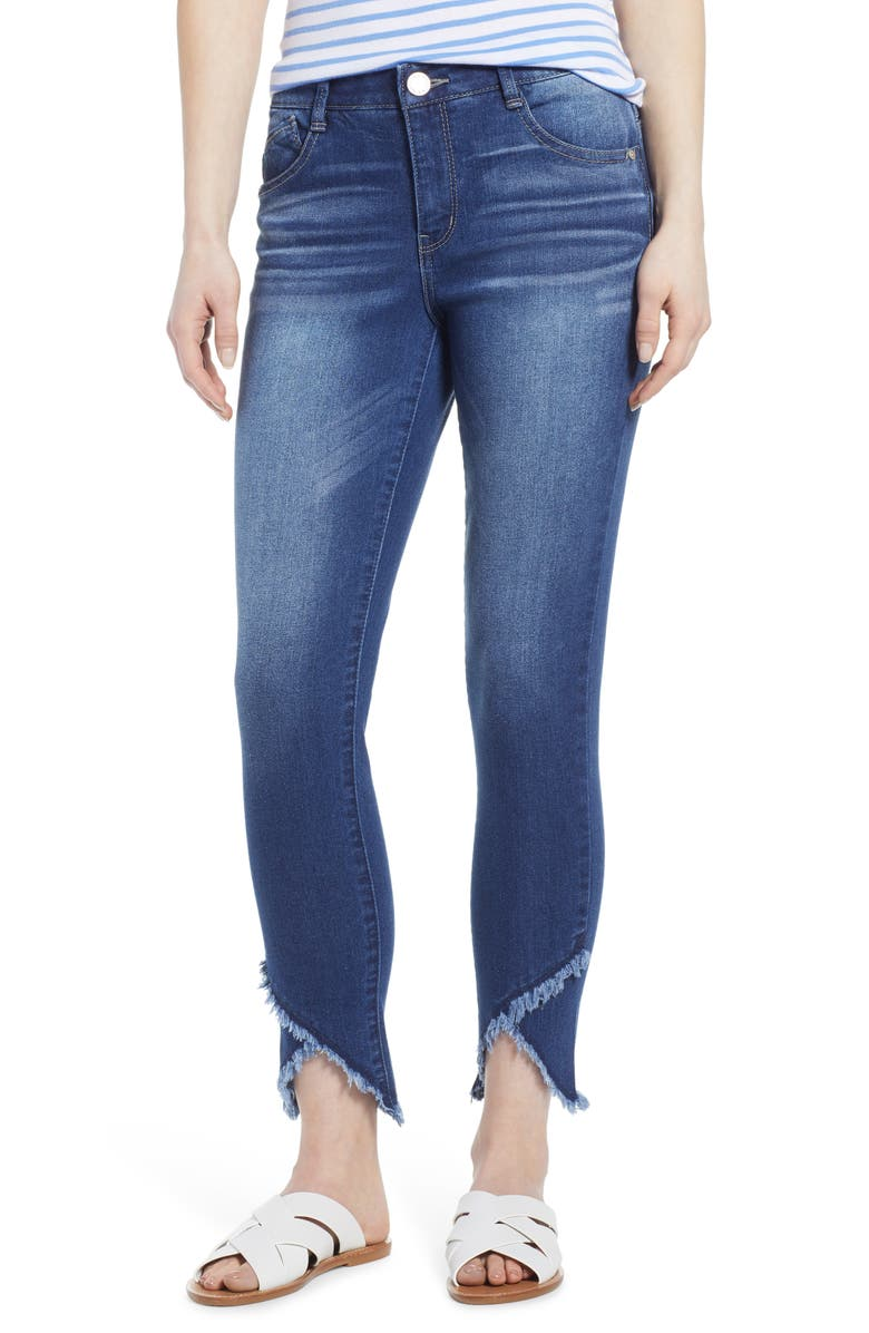 WIT & WISDOM High Waist Frayed Tulip Hem Jeans, Main, color, BLUE