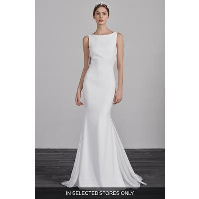 Pronovias Eol Beaded String Back Mermaid Gown, Size IN STORE ONLY - Ivory