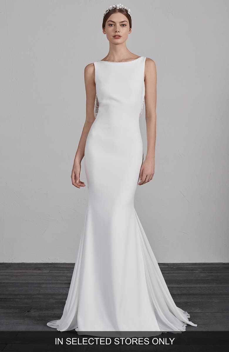 PRONOVIAS Eol Beaded Trumpet Wedding Dress, Main, color, 900