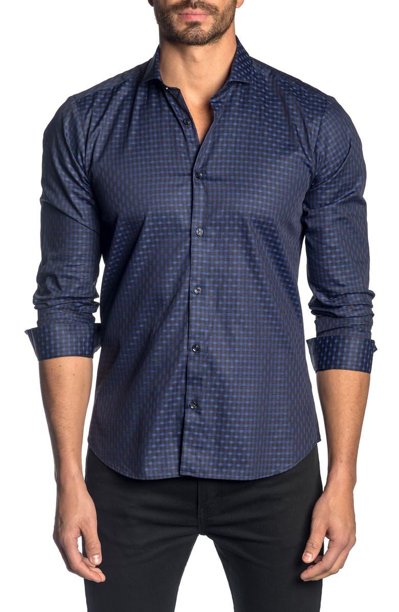 JARED LANG Slim Fit Check Button-Up Sport Shirt, Main, color, BLACK - BLUE GEO