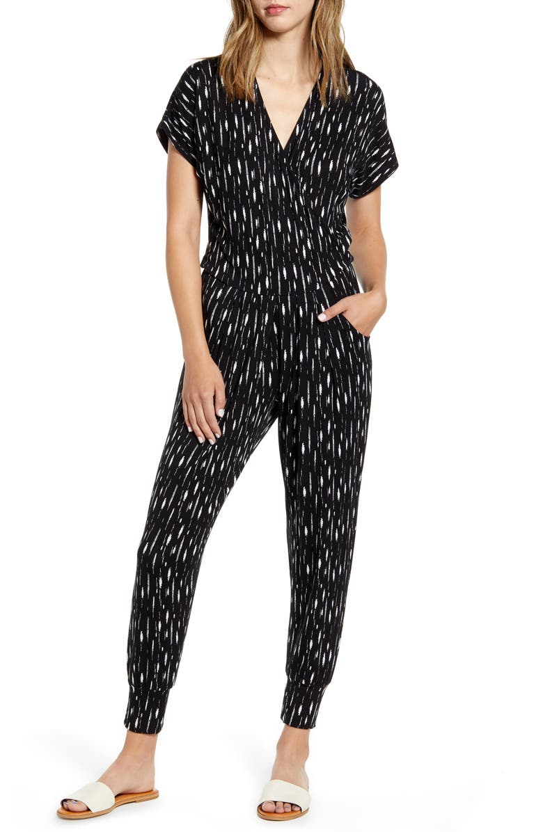 LOVEAPPELLA Wrap Jumpsuit, Main, color, BLACK/ IVORY