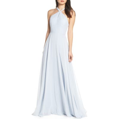 Jenny Yoo Halle Halter Evening Dress, Blue