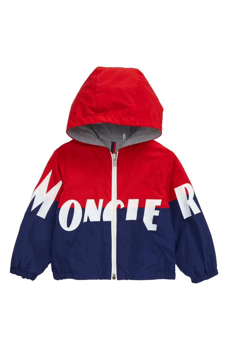 MONCLER Kruth Hooded Rain Jacket, Main, color, RED