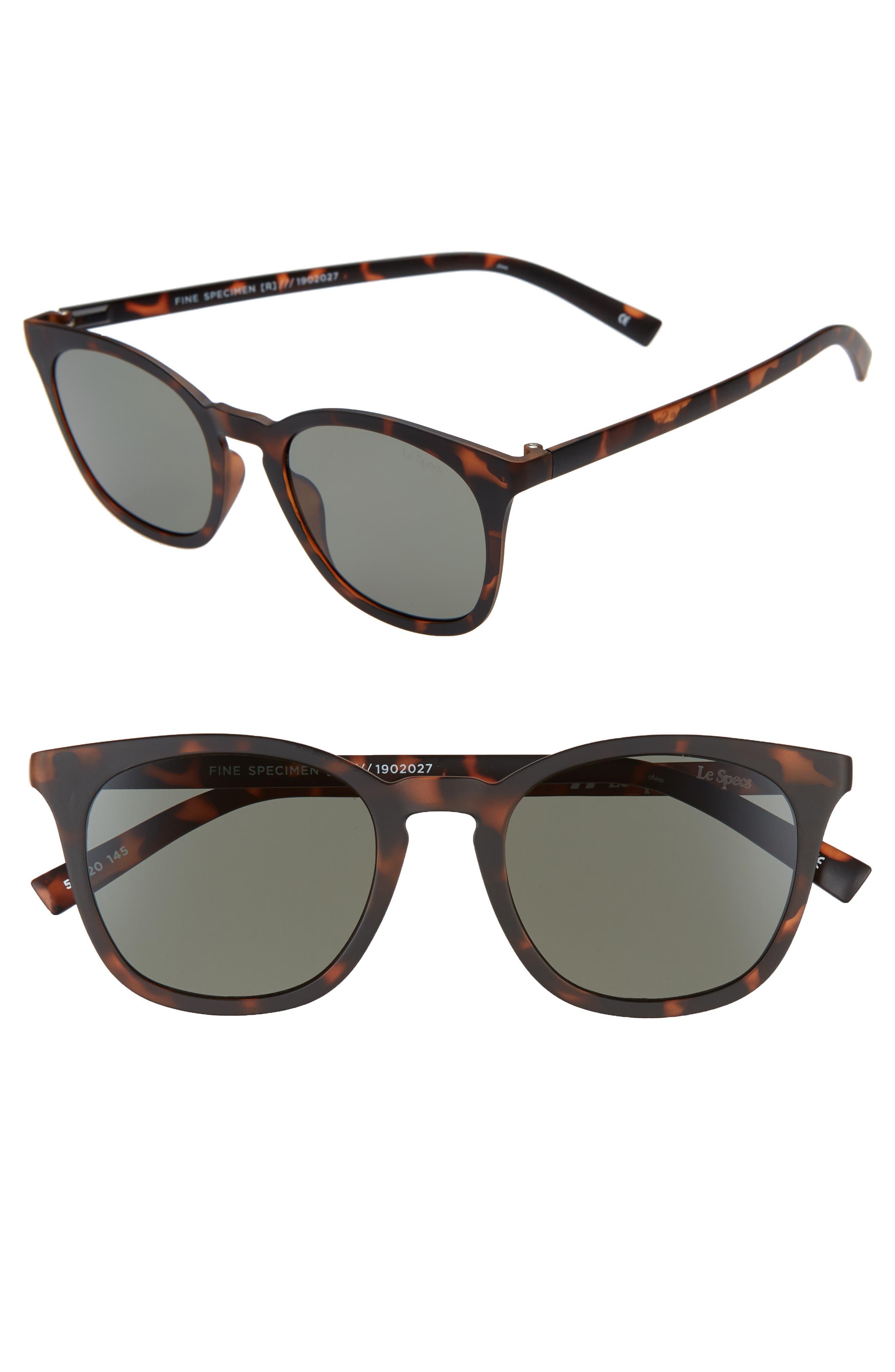Le Specs Fine Specimen 51Mm Square Sunglasses - Matte Tortoise/ Khaki