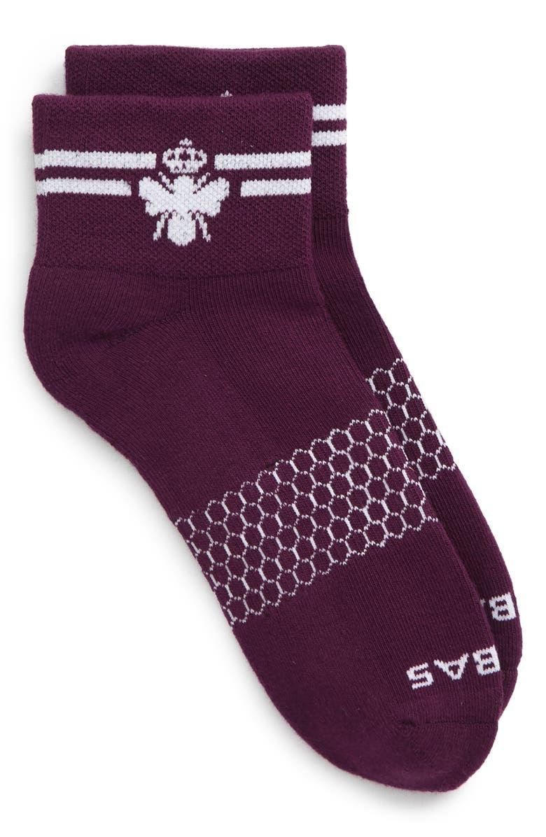 BOMBAS Stripe Quarters Ankle Socks, Main, color, WINTER BLOOM