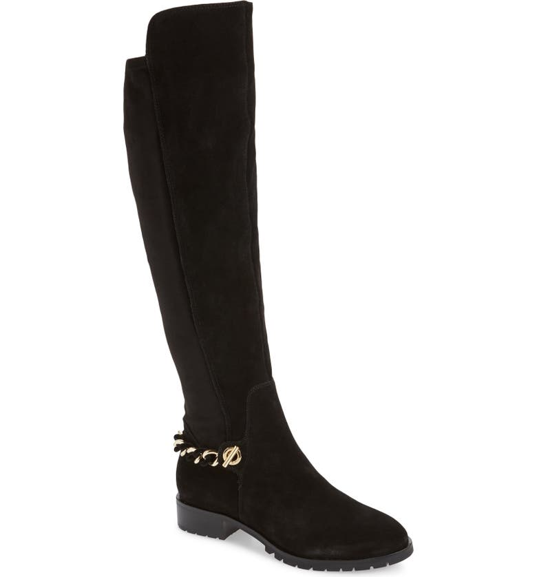 KARL LAGERFELD PARIS KARL LARGERFELD PARIS Skylar Knee High Boot, Main, color, BLACK SUEDE
