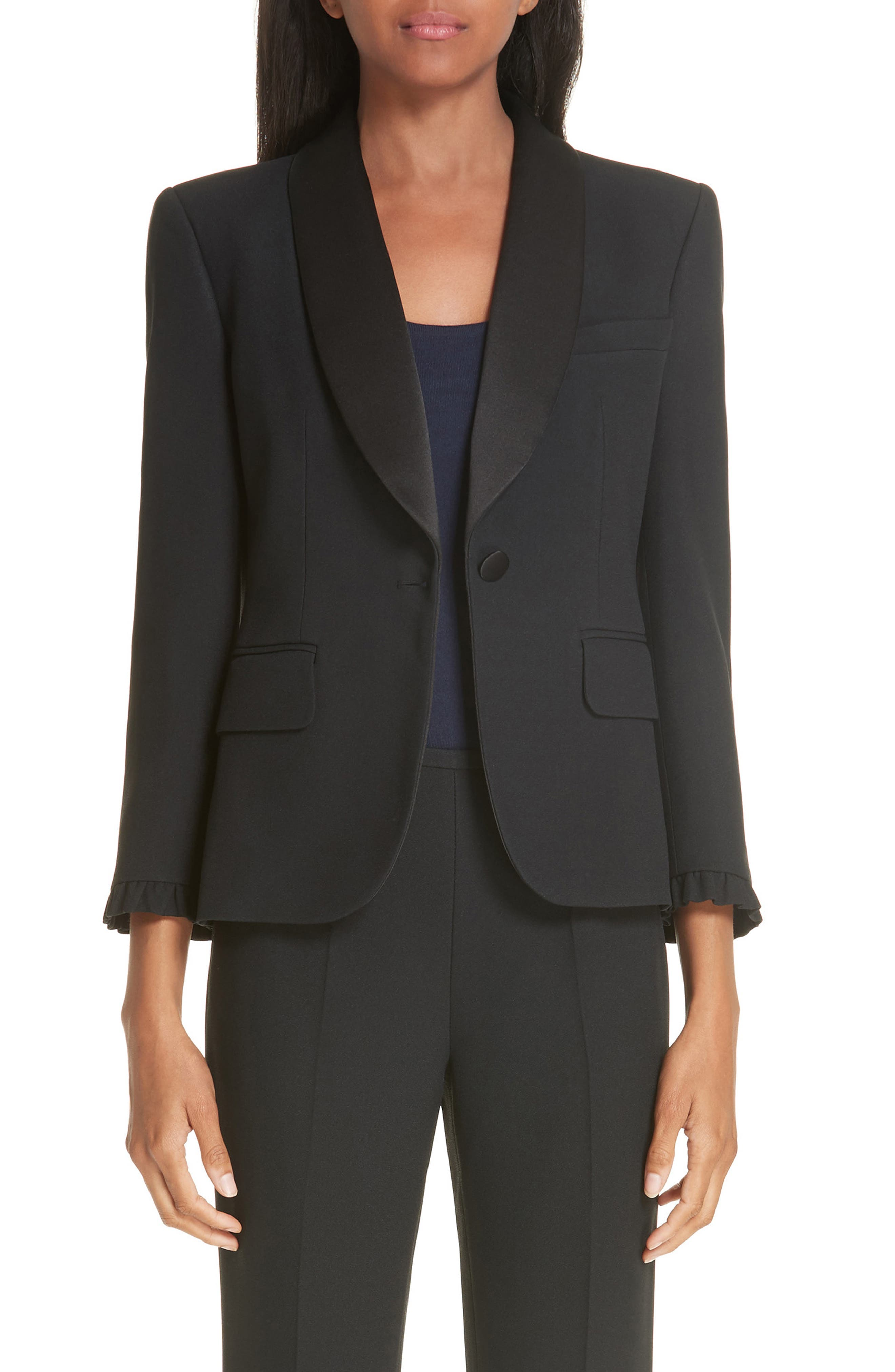,                             Ruffle Cuff Double Crepe Sable Tuxedo Jacket,                             Main thumbnail 1, color,                             BLACK