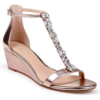 Jewel Badgley Mischka Darrell Embellished Wedge Sandal- Pink