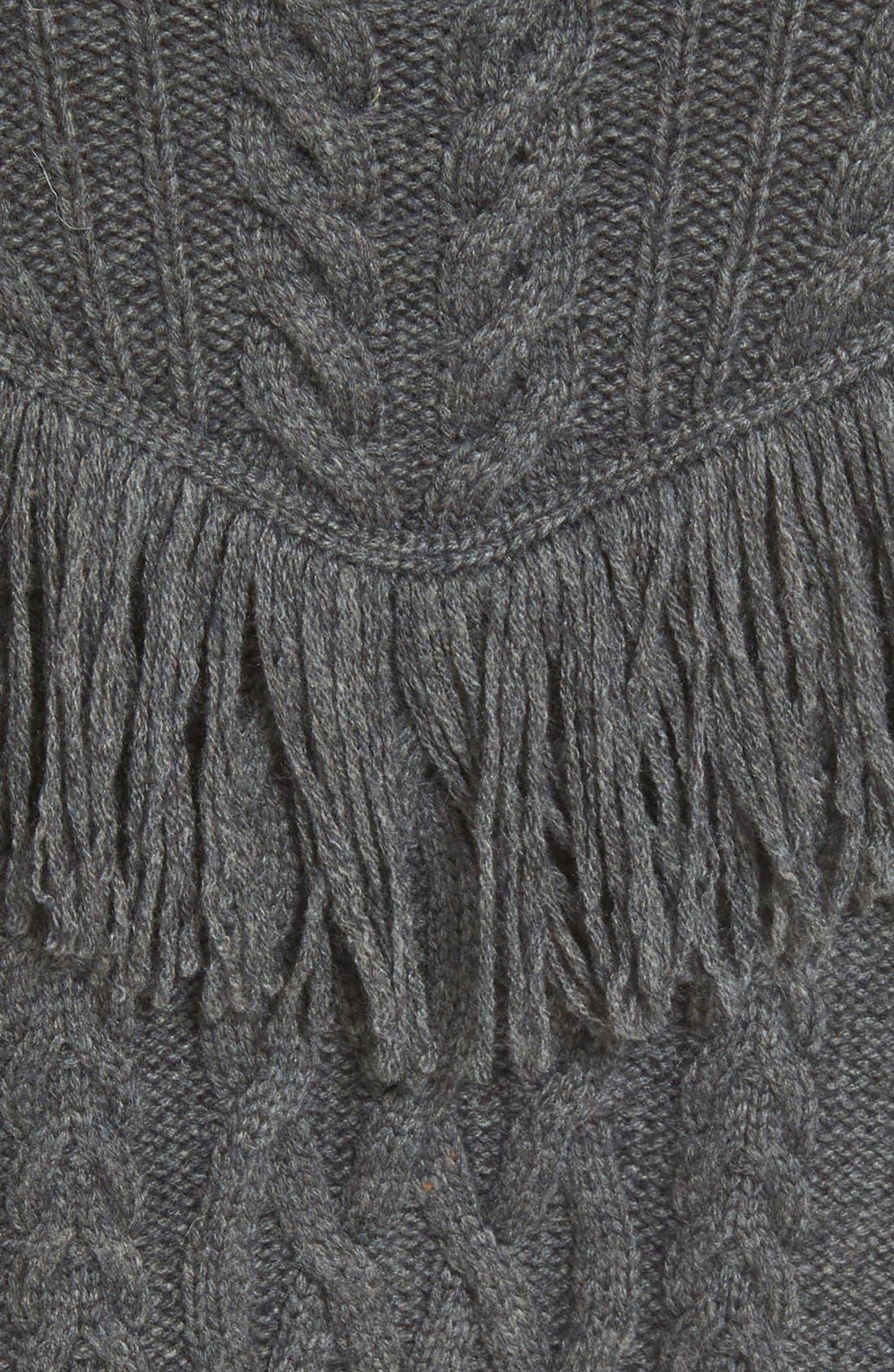,                             'Viviam' Fringe Cable Turtleneck Sweater,                             Alternate thumbnail 4, color,                             076