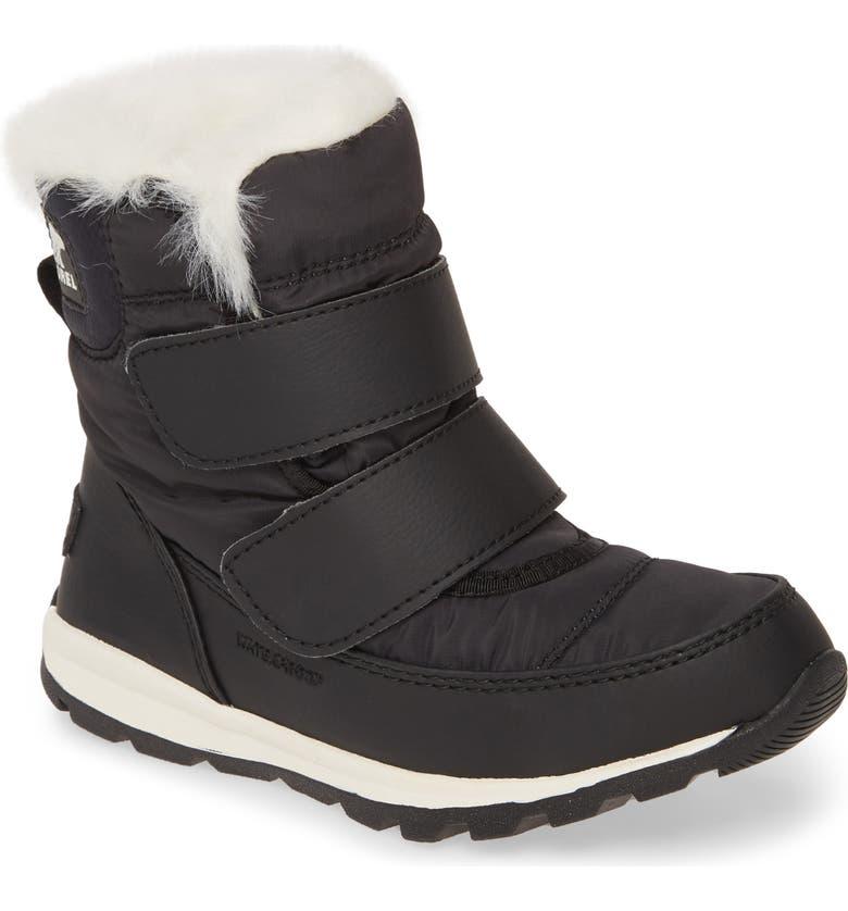 SOREL Whitney Waterproof Faux Fur Trim Boot, Main, color, BLACK