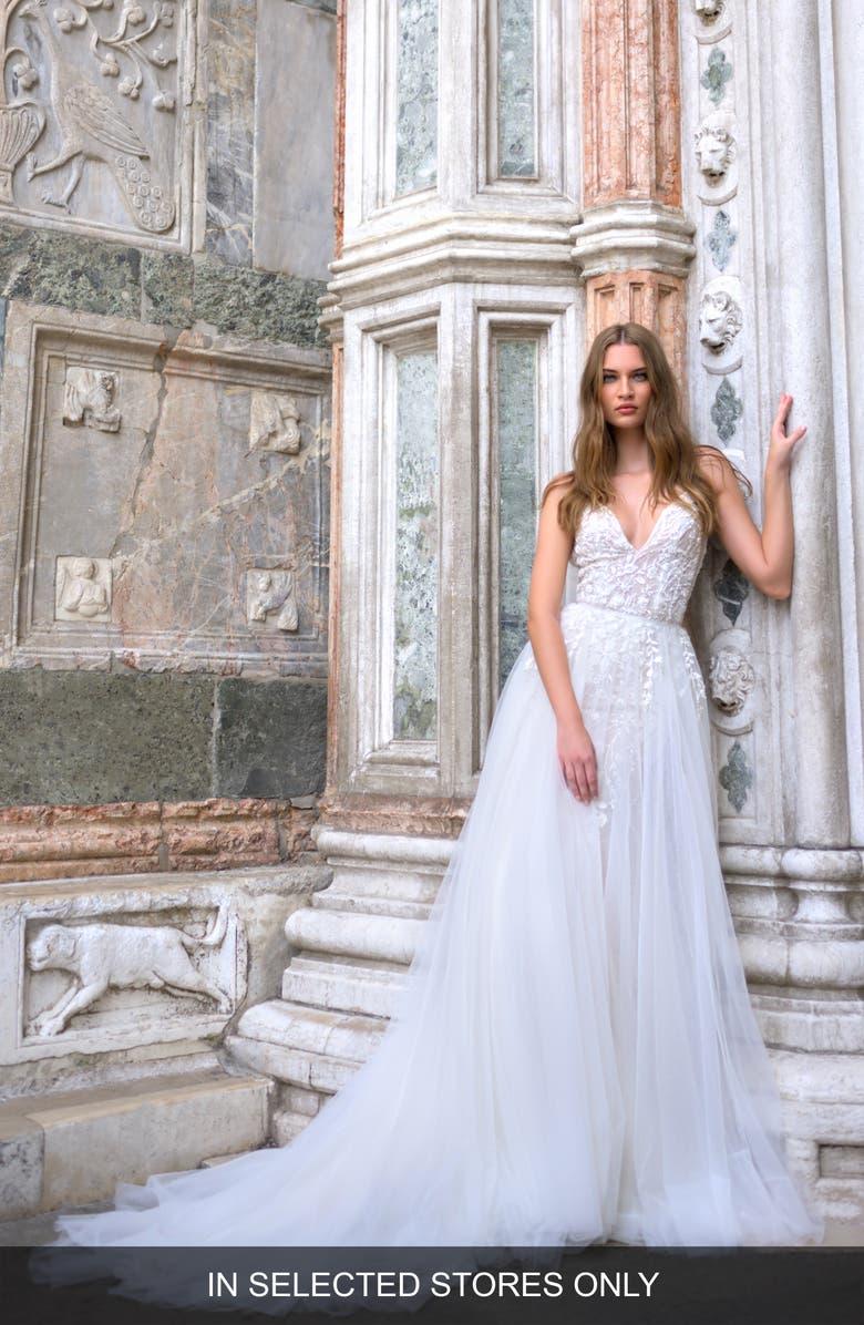 BLISS MONIQUE LHUILLIER Lace & Tulle Wedding Dress, Main, color, SILK WHITE / LATTE