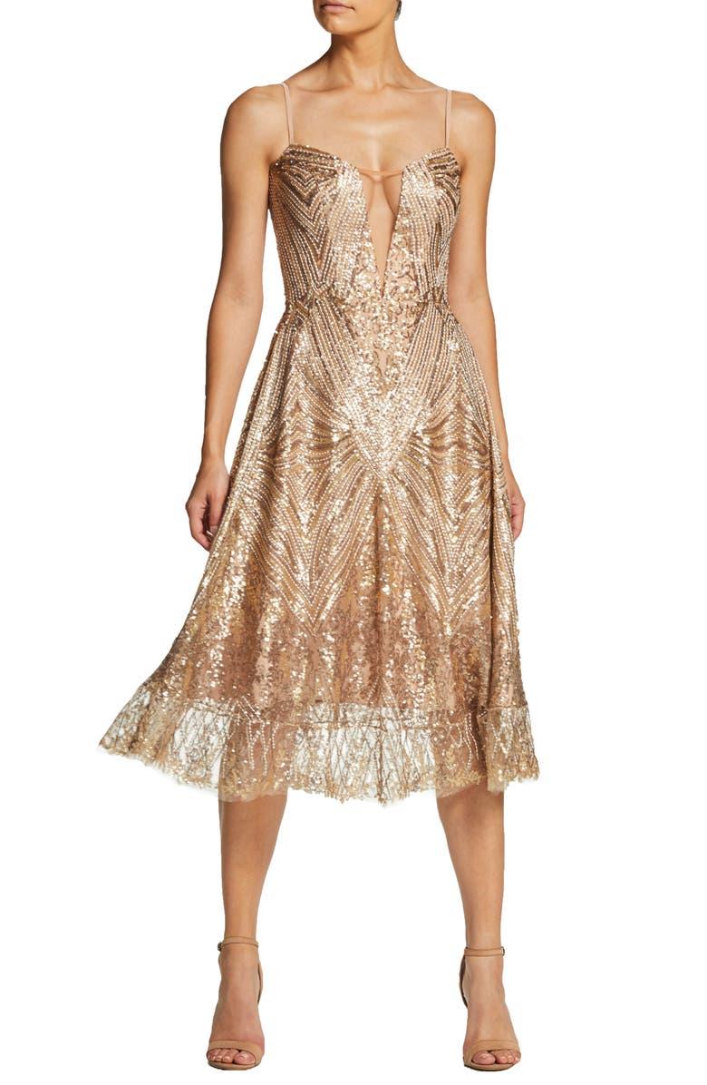 DRESS THE POPULATION Leona Art Deco Sequin Fit & Flare Dress, Main, color, 220