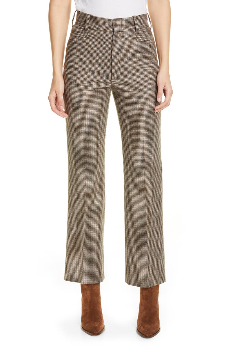 RE/DONE '70s Houndstooth Wool Blend Trousers, Main, color, PLAID