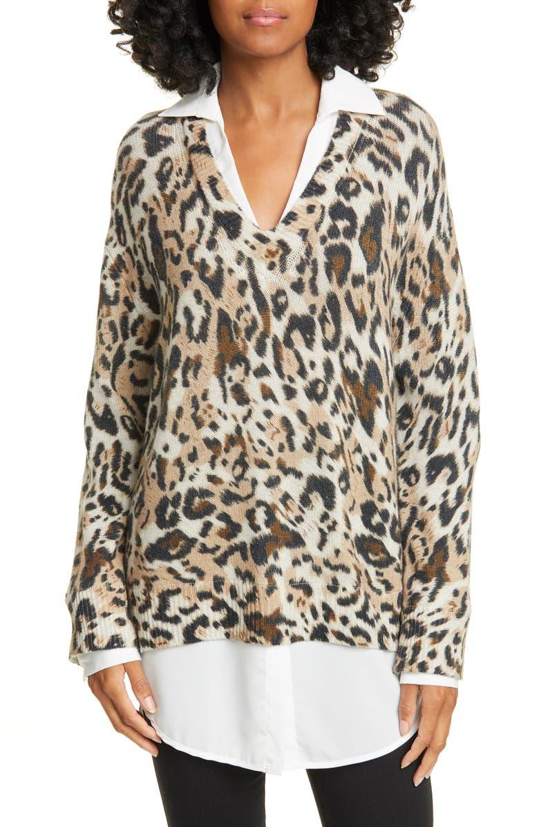 BROCHU WALKER Leopard Print Layered Sweater, Main, color, LEOPARD COMBO