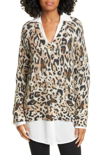 Brochu Walker Sweaters LEOPARD PRINT LAYERED SWEATER