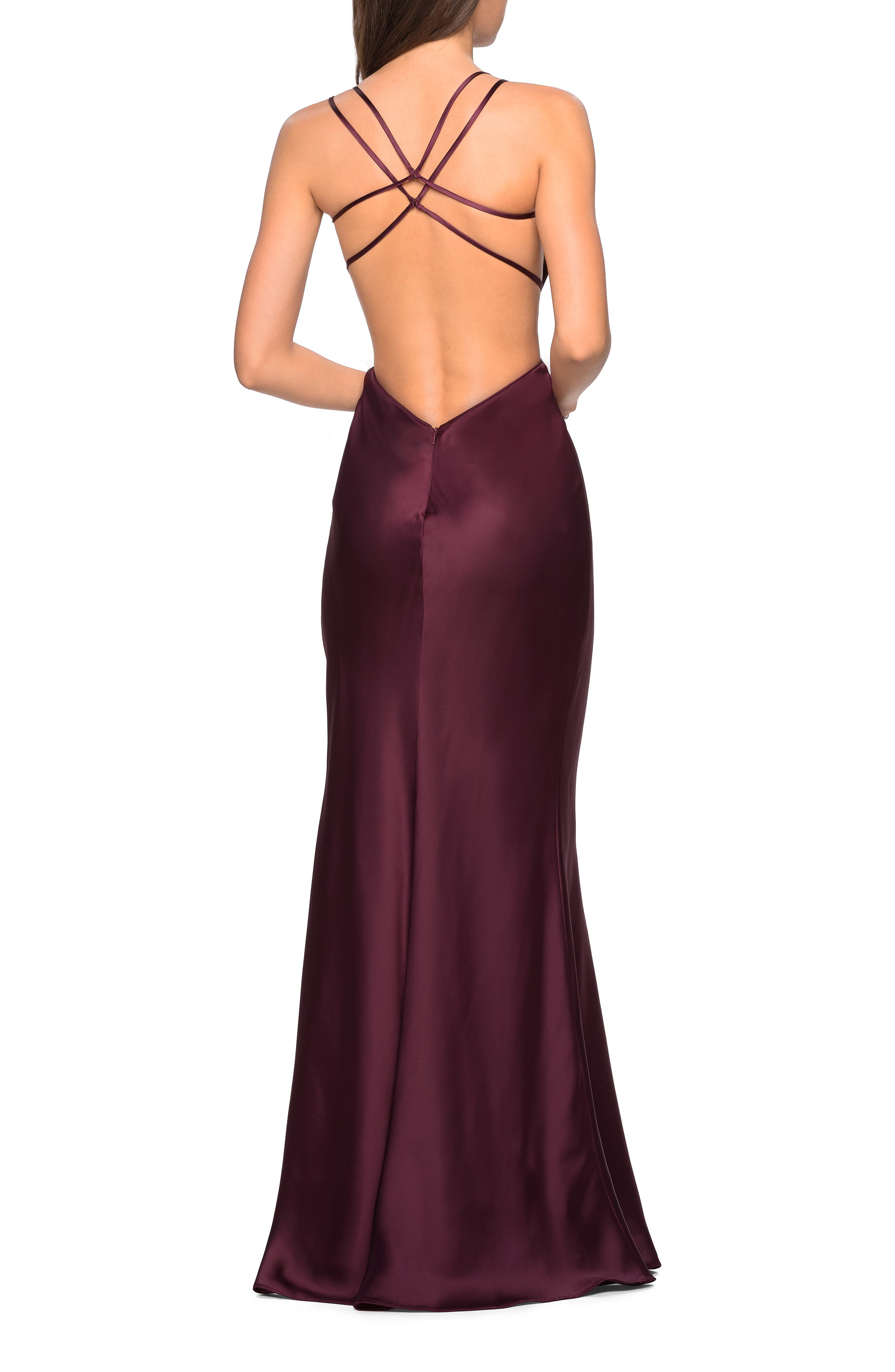 ,                             Strappy Back Fitted Satin Evening Dress,                             Alternate thumbnail 2, color,                             WINE