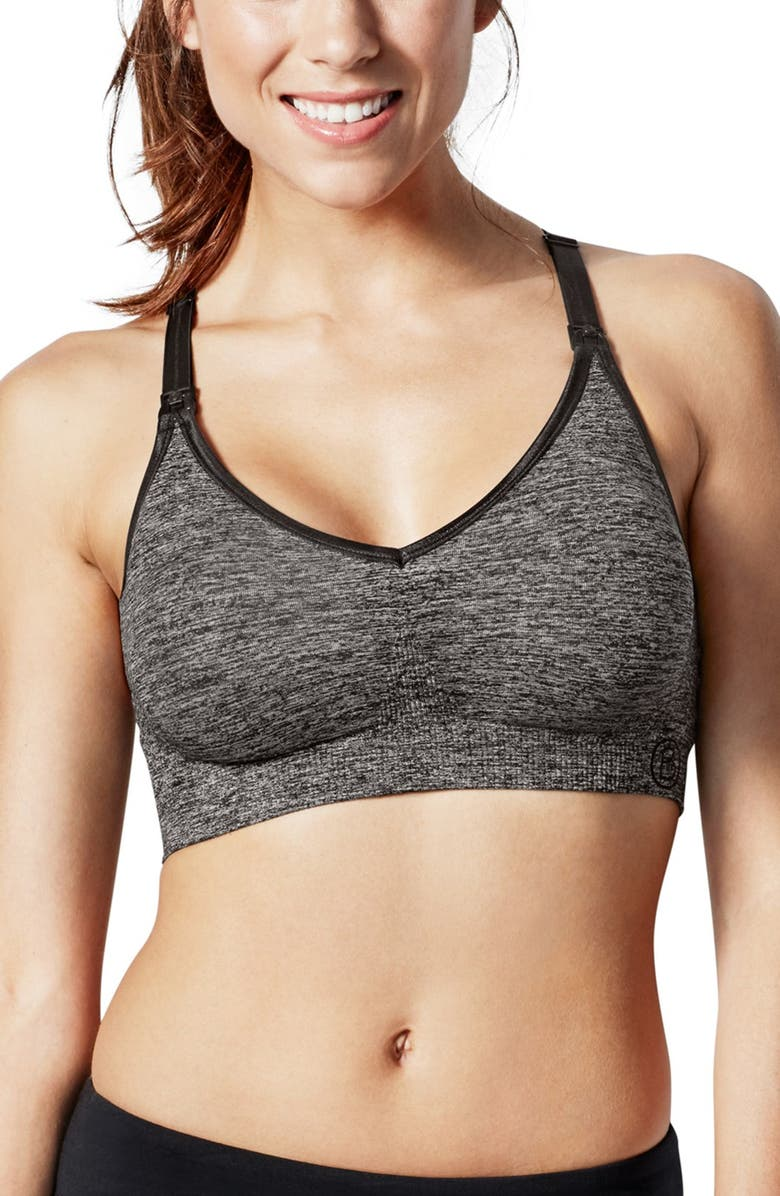 BRAVADO DESIGNS Body Silk Seamless Yoga Maternity/Nursing Bra, Main, color, CHARCOAL HEATHER