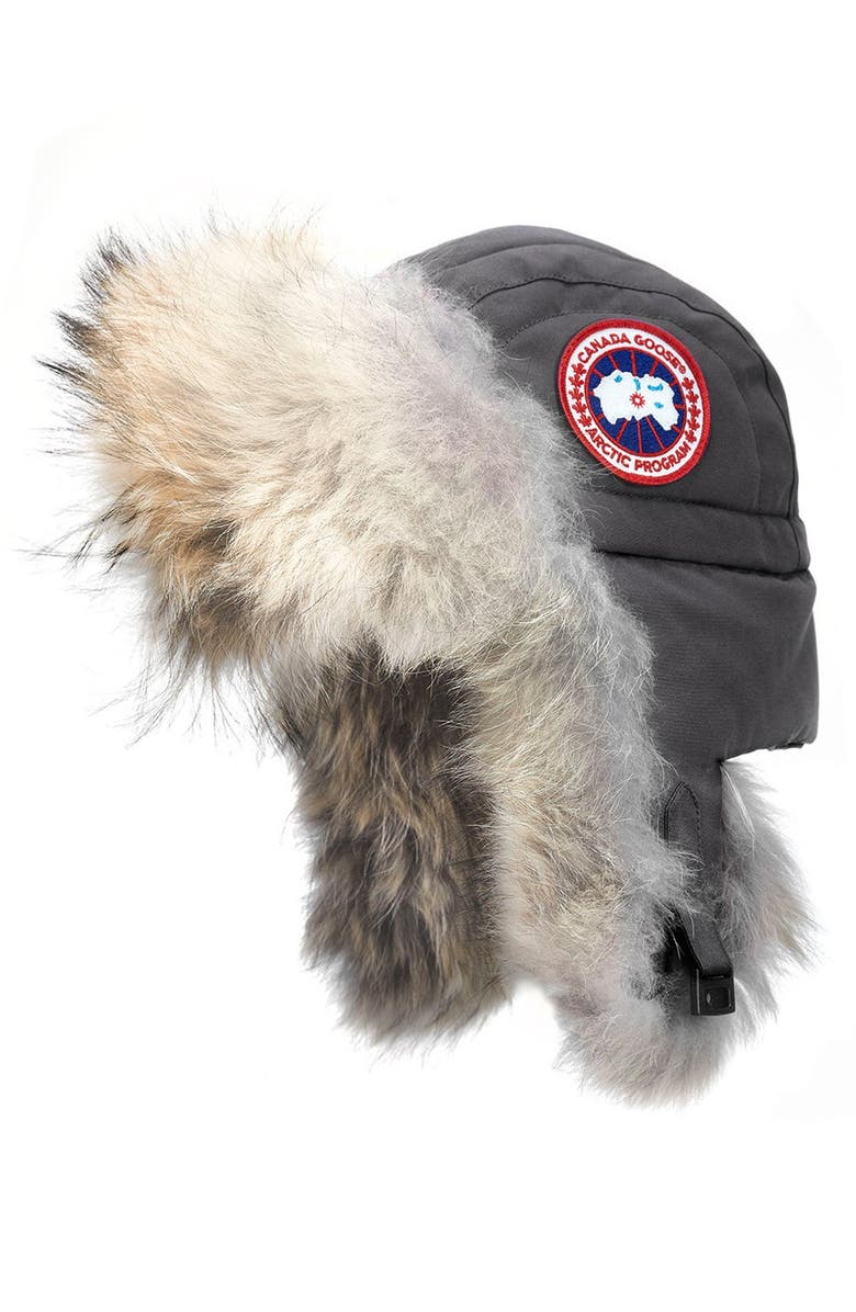 CANADA GOOSE Aviator Hat with Genuine Coyote Fur Trim, Main, color, GRAPHITE