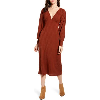 Band Of Gypsies Tarte Long Sleeve Plunge Neck Midi Dress, Red