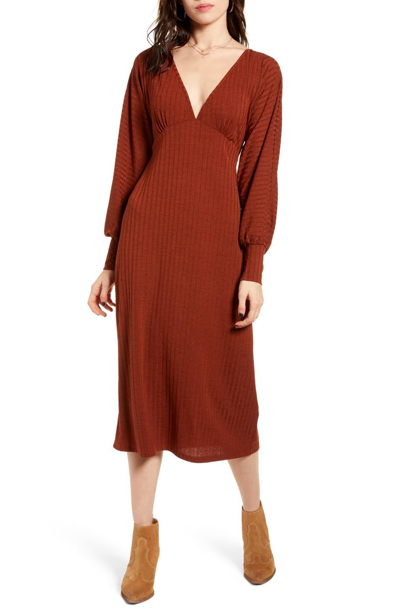 BAND OF GYPSIES Tarte Long Sleeve Plunge Neck Midi Dress, Main, color, RUST