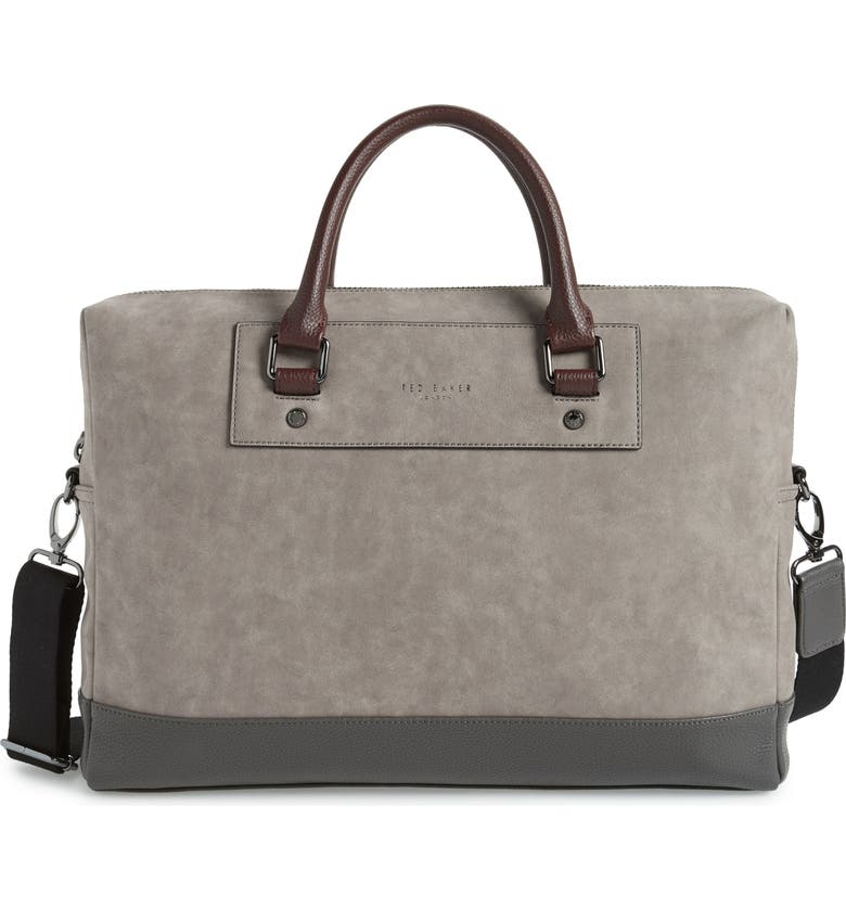 TED BAKER LONDON Pitza Faux Leather Document Bag, Main, color, GREY