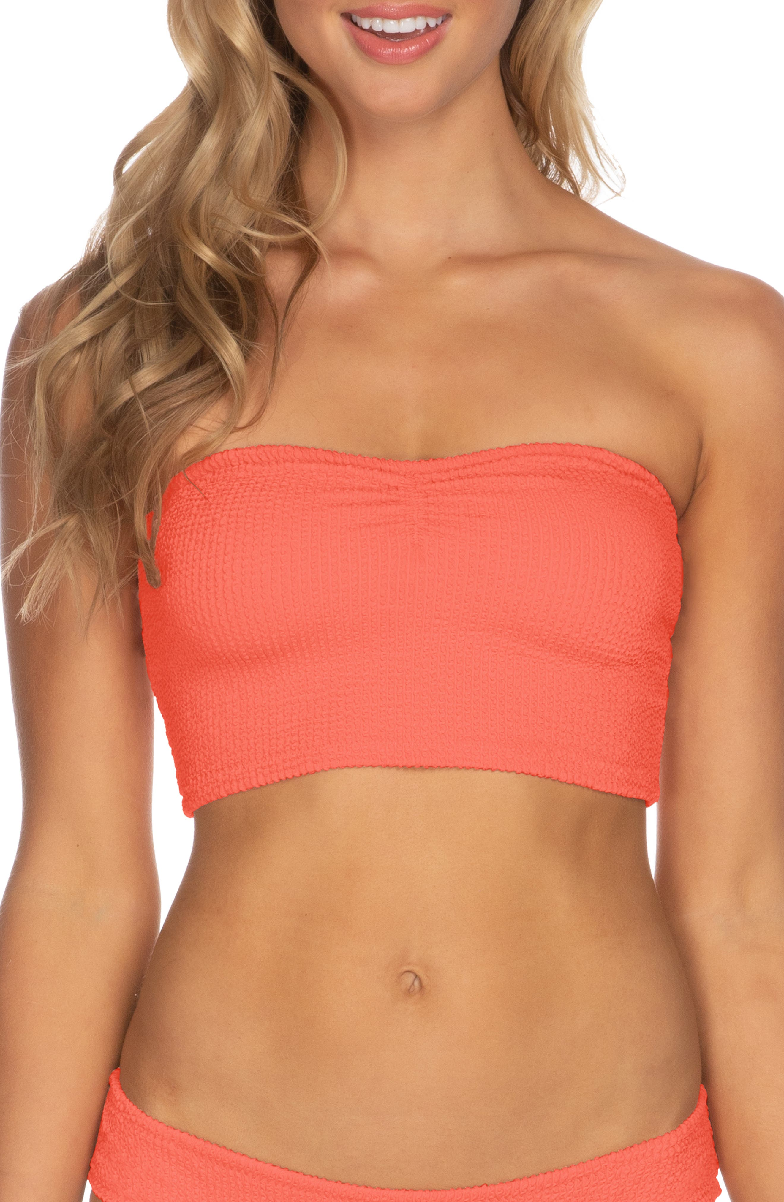 Isabella Rose Pucker Up Seersucker Bikini Tube Top, Coral