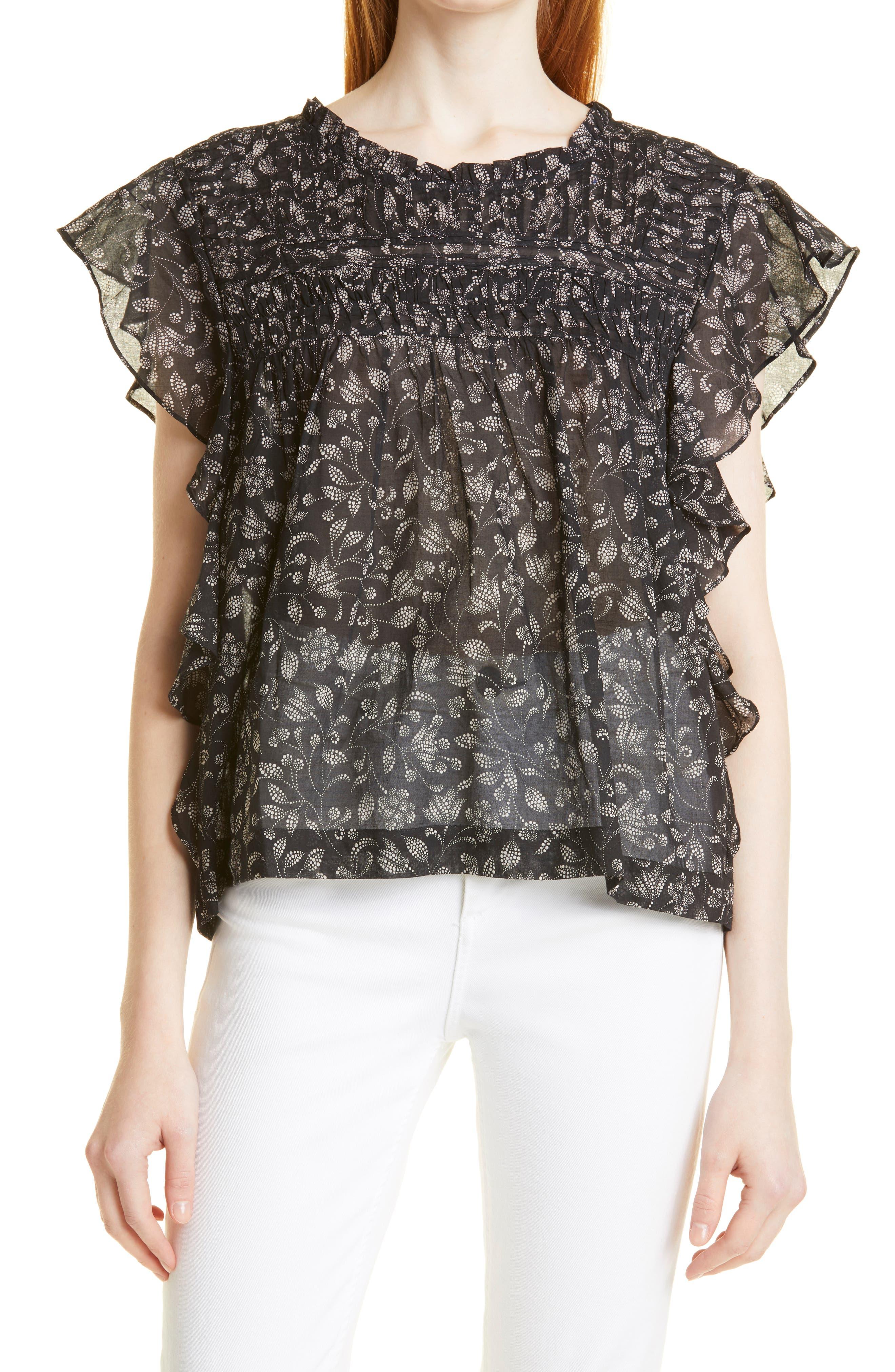 Women's Isabel Marant Etoile Layona Floral Ruffle Sleeve Top