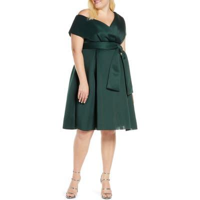Plus Size Chi Chi London Curve Edel One-Shoulder Cocktail Dress, Blue/green